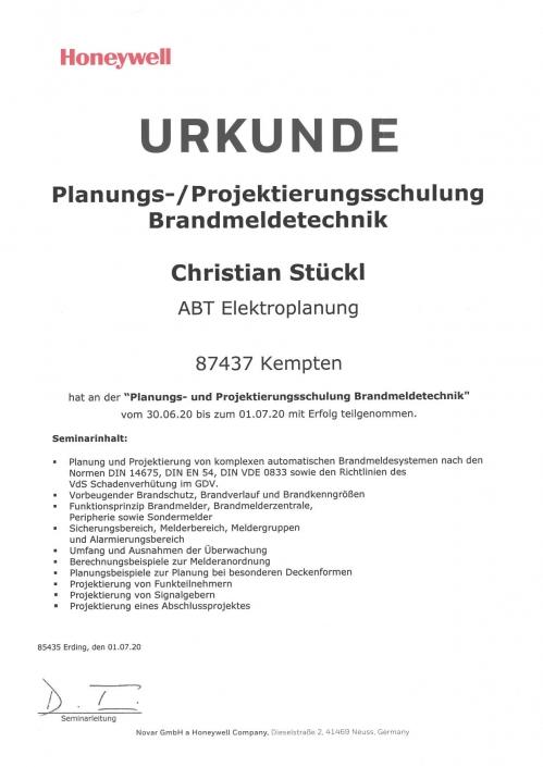 Planungs- und Projektierungsschulung Brandmeldeanlage