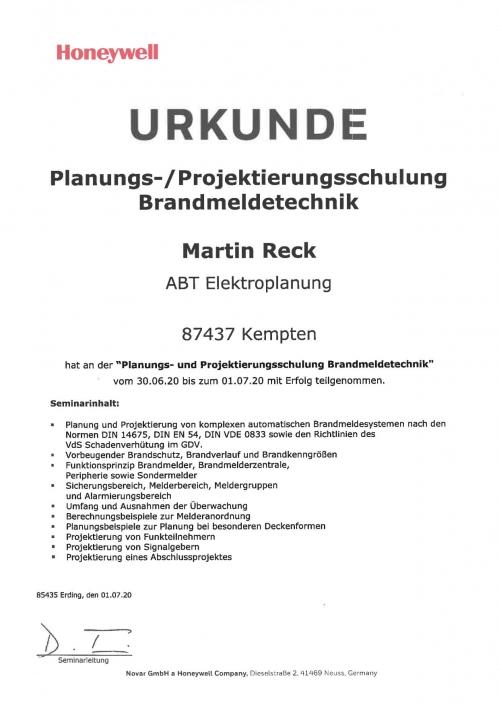 Planungs- und Projektierungsschulung